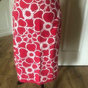 Boden pink White Flower Skirt Sz 6L UK 10L